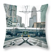 Streetcar Waiting For Passengers In Snowstrom In Uptown Charlott Throw Pillow