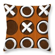 Tic Tac Toe Wooden Board Generated Seamless Texture Throw Pillow