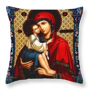 Virgin And Child Icon Religious Art Throw Pillow