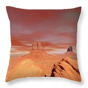 Warm Skies Monument Valley Throw Pillow