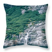 Waterfall In Tracy Arm Fjord, Alaska Throw Pillow