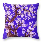 White Tree In Blossom, Painting Throw Pillow