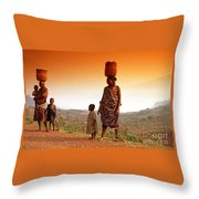 On The Road. Rural Uganda East Africa Throw Pillow