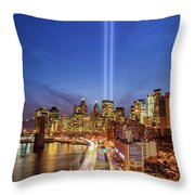 911 Tribute In Light In Nyc II Throw Pillow