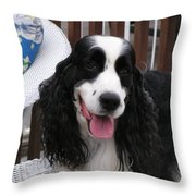 #940 D1038 Farmer Browns Springer Spaniel Adorable Happy Throw Pillow