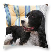 #940 D1054 Farmer Browns Springer Spaniel Throw Pillow