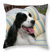 #940 D1066 Farmer Browns Springer Spaniel Happy Throw Pillow