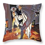9926s-dm Watercolor Woman In White Confronts Herself In Mirror Throw Pillow