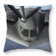 A B-2 Spirit Bomber Prepares To Refuel Throw Pillow by Stocktrek Images