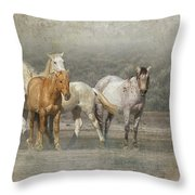 A Band Of Horses Throw Pillow