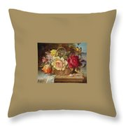 A Basket Of Flowers And A Butterfly Hans Zatzka Throw Pillow