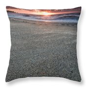 A Beach During Sunset With Glowing Sky Throw Pillow