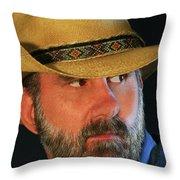 A Bearded Cowboy Throw Pillow