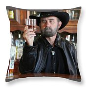A Bearded Cowboy In Black Contemplates His Whiskey In A Saloon Throw Pillow