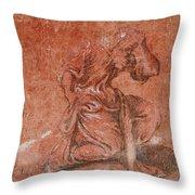 A Bearded Saint Kneeling Throw Pillow