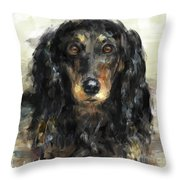 A Beautiful Artistic Painting Of A Dachshund  Throw Pillow