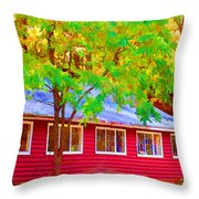 A Beautiful Country Building In The Fall 1 Throw Pillow