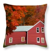 A Beautiful Country Building In The Fall 2 Throw Pillow