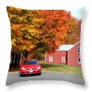 A Beautiful Country Building In The Fall 4 Throw Pillow