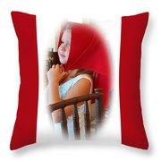 A Beautiful Girl Dreaming Throw Pillow