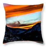 A Beautiful Jet Stream At Sunrise Throw Pillow