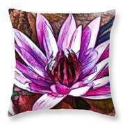 A Beautiful Purple Water Lilies Flower Throw Pillow
