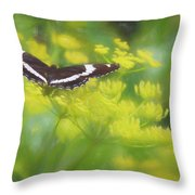 A Beautiful Swallowtail Butterfly On A Yellow Wild Flower Throw Pillow