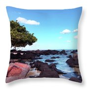 A Beautiful View Of The Sea From Mauritius Throw Pillow