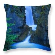 A Beautiful Waterfall, Johnston Canyon Throw Pillow