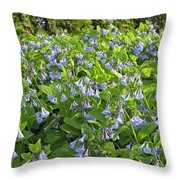 A Bed Of Bluebells Throw Pillow
