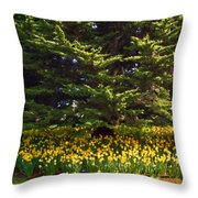 A Bed Of Narcissus Throw Pillow