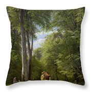 A Beech Wood In May Near Iselingen Manor Throw Pillow
