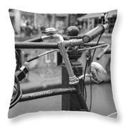 A Bicycle Parked At Fence, Netherlands Throw Pillow
