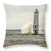 A Big Wave Crashes Into The Frankfort Light Throw Pillow