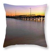 A Biloxi Pier Sunset - Mississippi - Gulf Coast Throw Pillow
