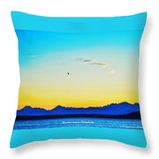 A Bird In The Sky At Sunset Throw Pillow