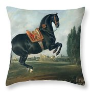 A Black Horse Performing The Courbette Throw Pillow