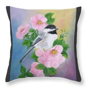 A Blackcapped Chickadee And Roses Throw Pillow