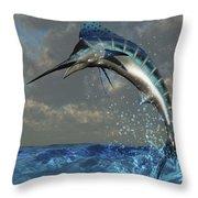A Blue Marlin Flashes Its Iridescent Throw Pillow