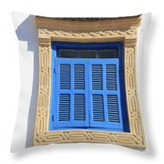 A Blue Window In Morocco Throw Pillow