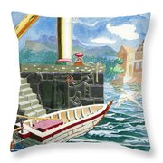 A Boat Harbored At A Jetty With A Yellow Flag  Throw Pillow
