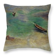 A Boat In The Waters Off Capri Throw Pillow