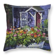 A Boat Load Of Zinnias Throw Pillow