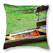 A Boat On Amazon Green Water Throw Pillow