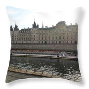 A Boat On The River Seine Throw Pillow