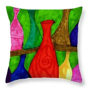A Bottle Collection Throw Pillow