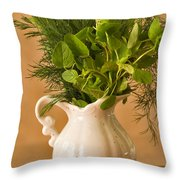 A Bouquet Of Fresh Herbs In A Tiny Jug Throw Pillow
