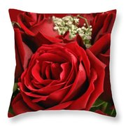 A Bouquet Of Red Roses Throw Pillow