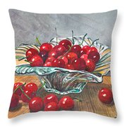 A Bowl Full Of Cherries Throw Pillow