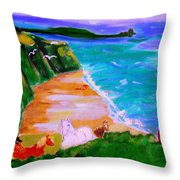 A Breezy Day At Rhosilli Bay Throw Pillow